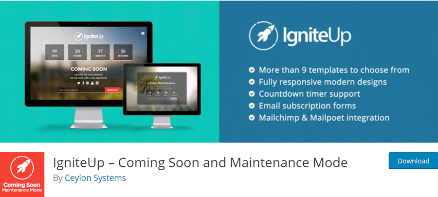 IgniteUp Coming Soon Plugin