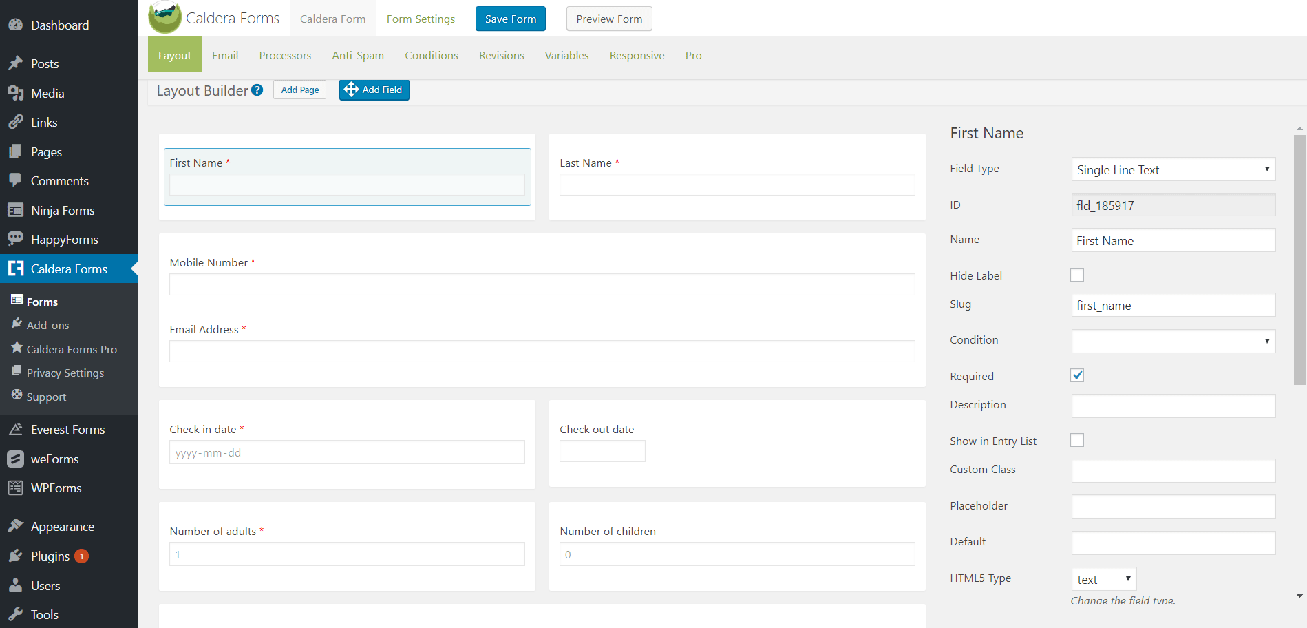 Best WordPress Form Builder Plugins - Caldera Forms