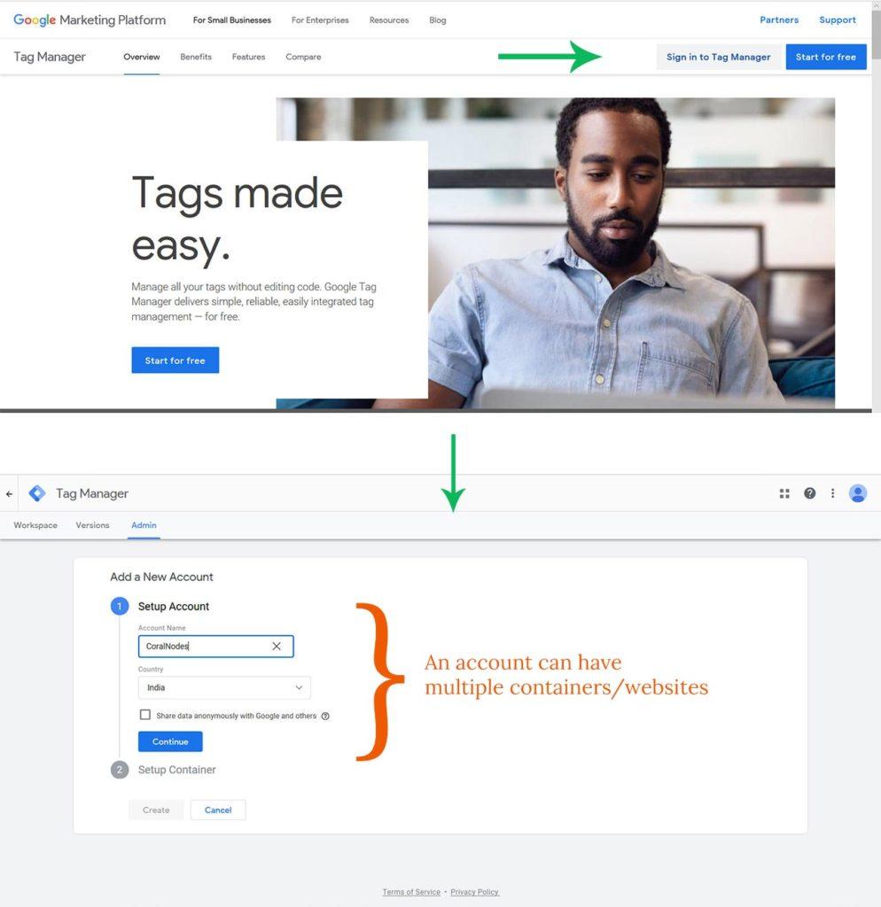 Register for Google Tag Manager