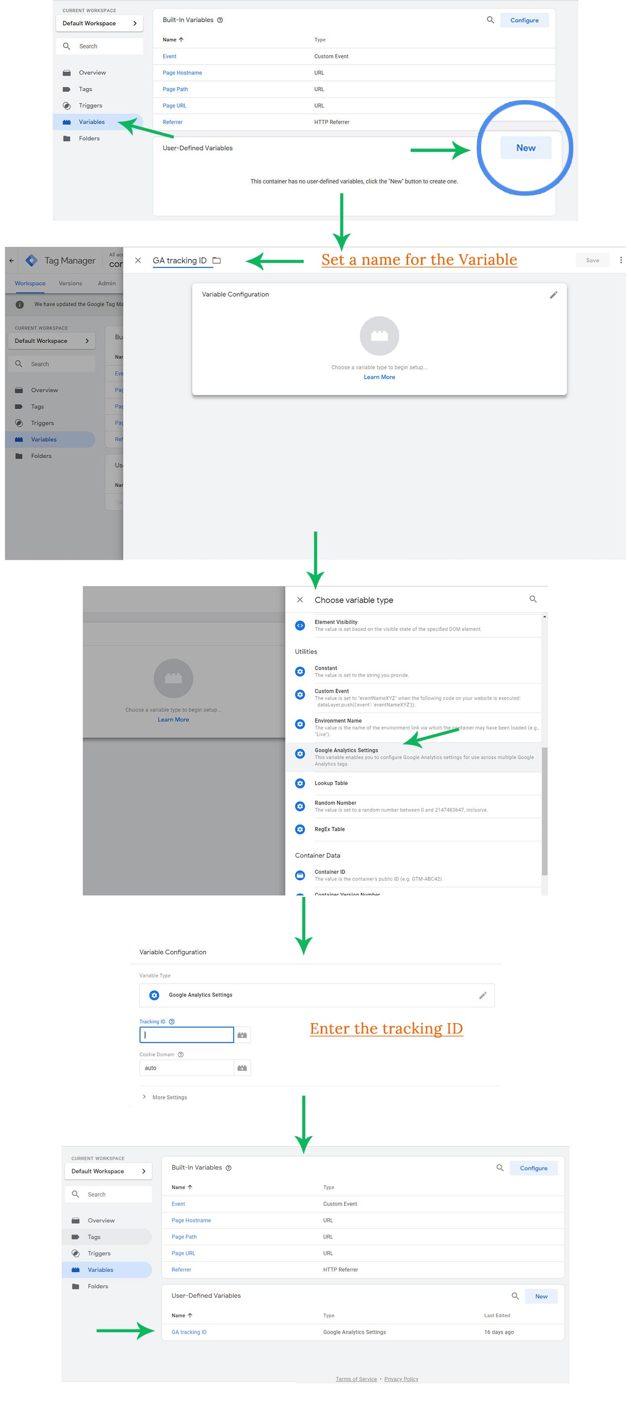 Adding user-defined variable in Google Tag Manager