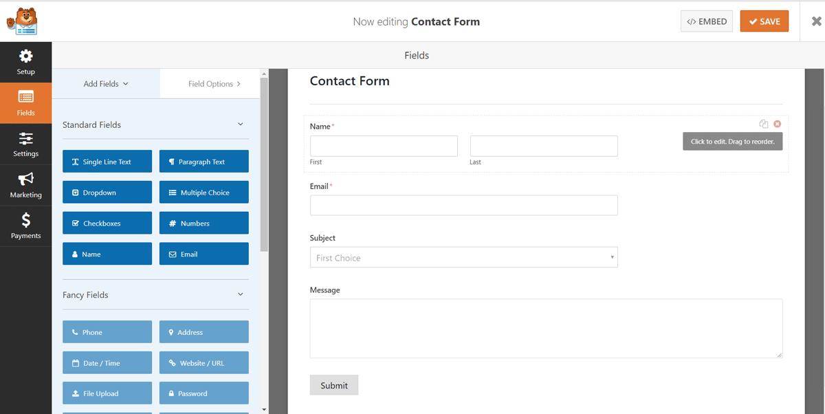 Best WordPress Form Builder Plugins - WPForms