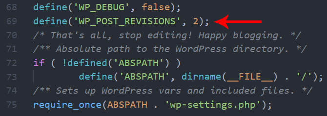 Limit revisions in WordPress