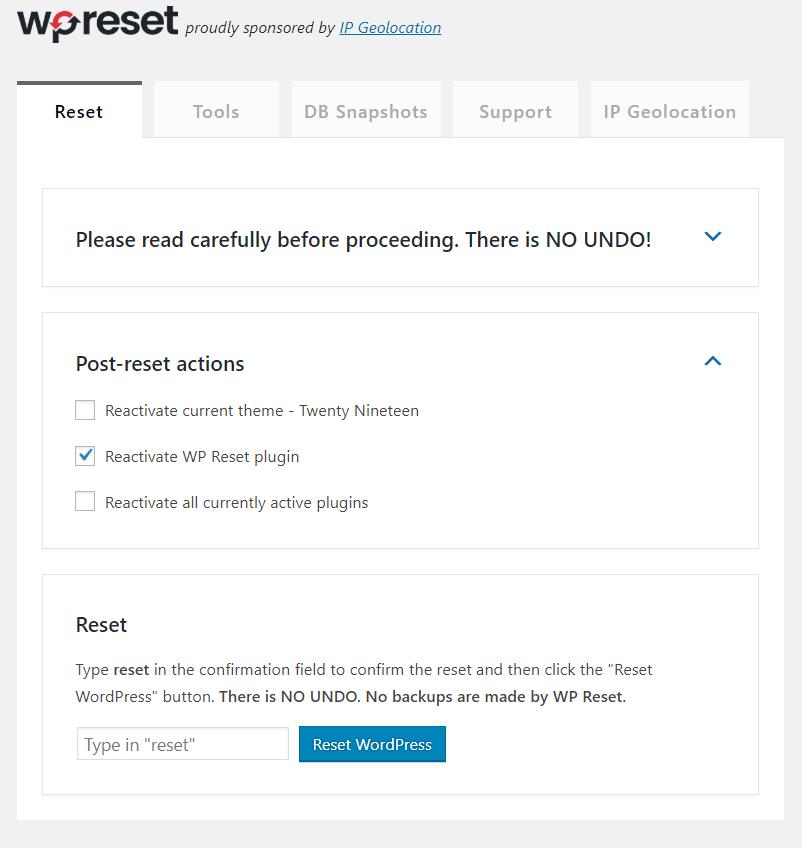 wp reset plugin interface