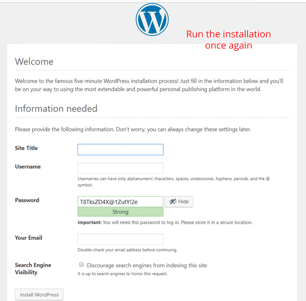 reinstalling wordpress