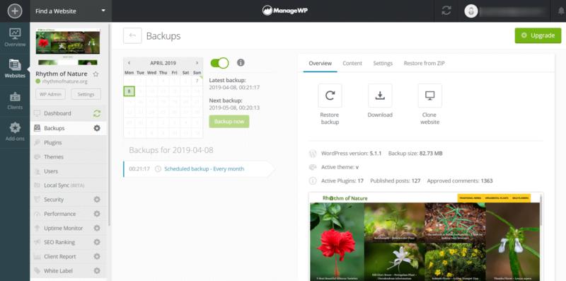 managewp backup interface