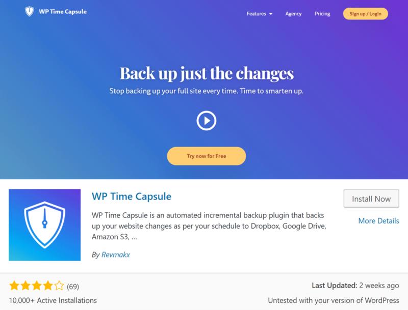 wp time capsule - incremental backup plugin for wordpress