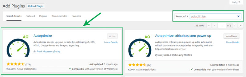 install and activate autoptimize plugin