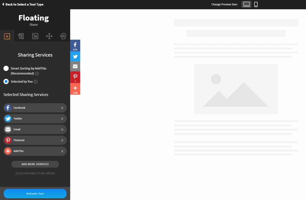 AddThis web dashboard