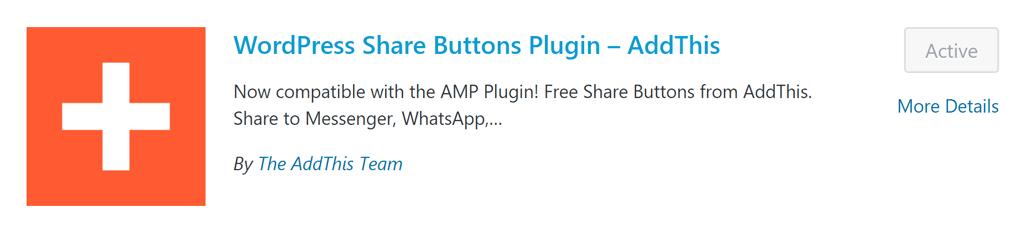 AddThis social plugin for WordPress