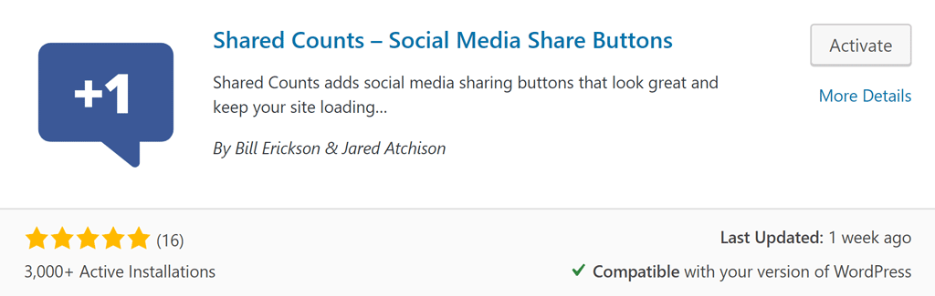 Shared Counts social plugin for WordPress