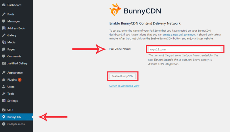 BunnyCDN WordPress Plugin Settings