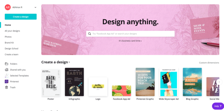 Canva Review: Home Page