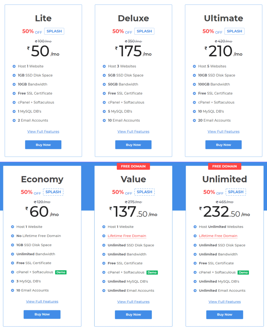 MilesWeb Shared Hosting Pricing