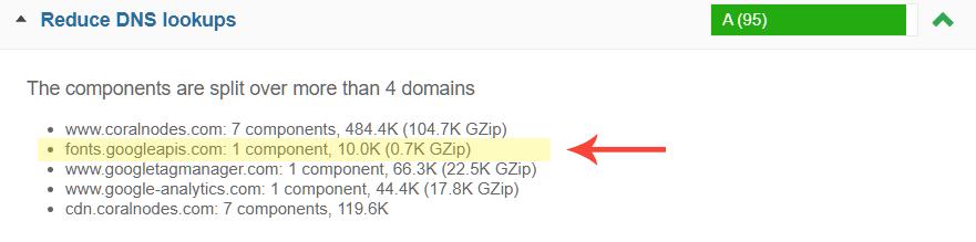 Reduce DNS Lookups - GTmetrix