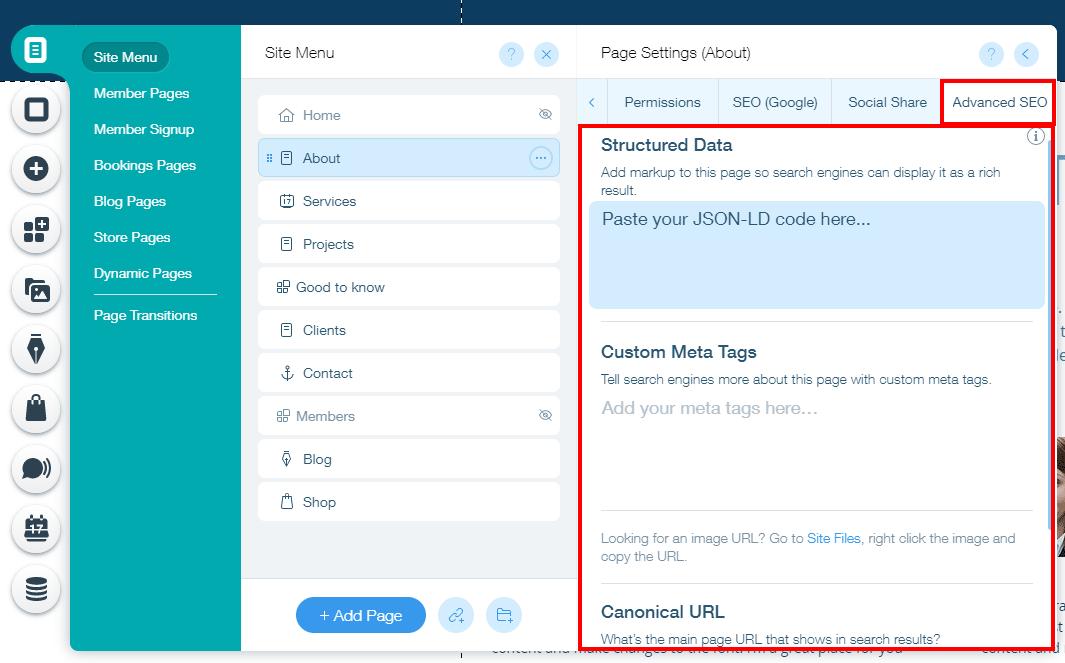 Advanced on-page SEO settings