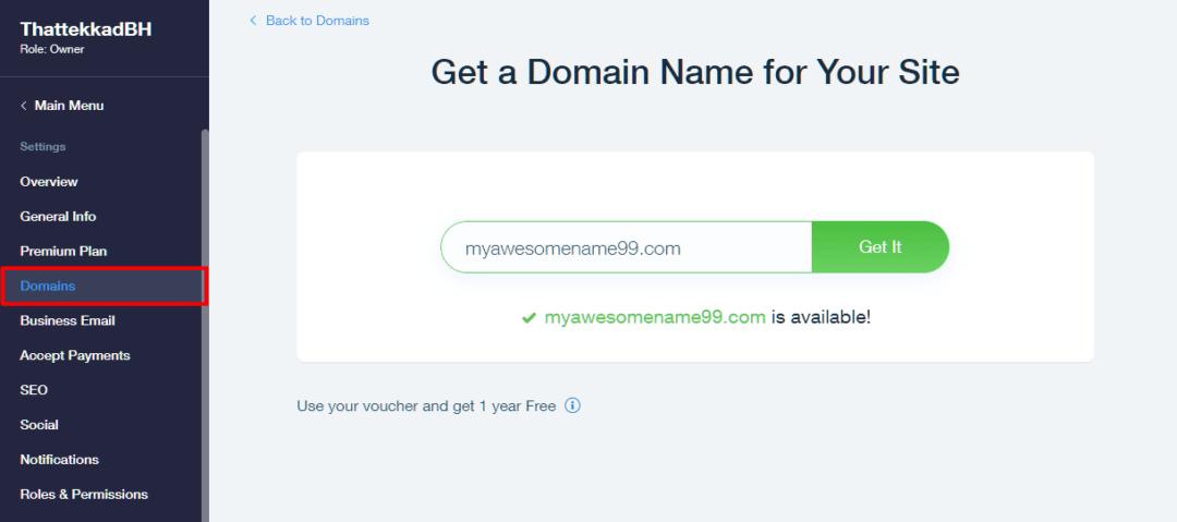 Purchasing domain name through Wix