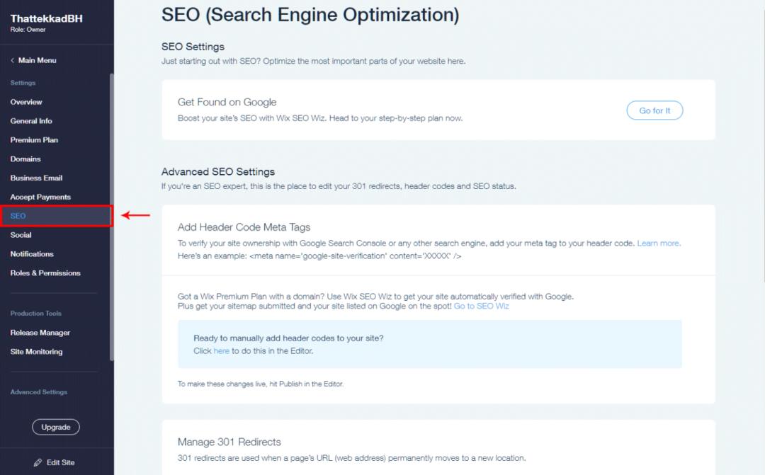SEO settings - site level
