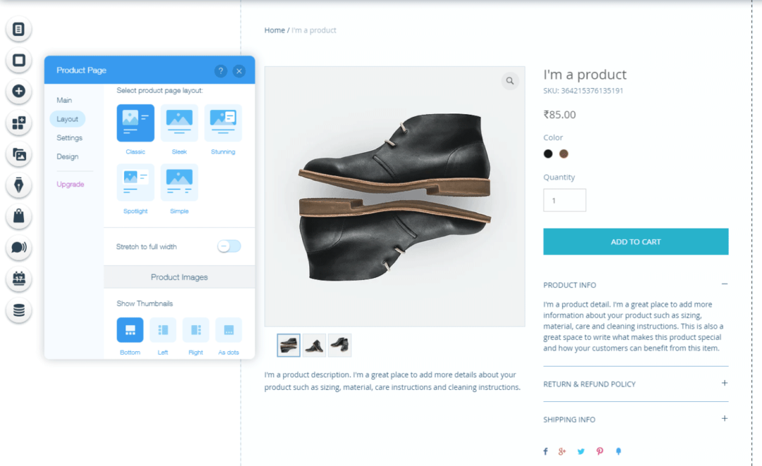Customizing product pages using Wix website builder