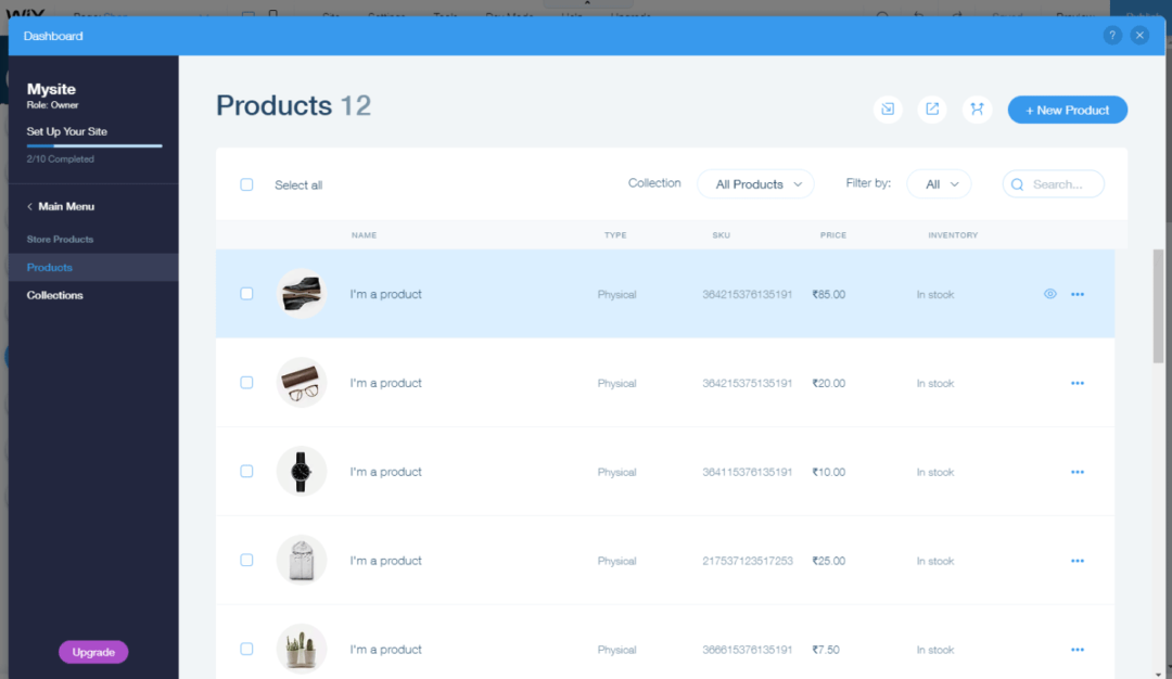 Store management screen - Wix