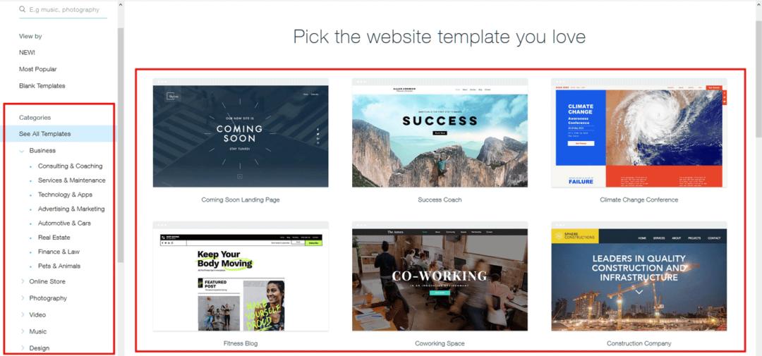 Design templates - Wix