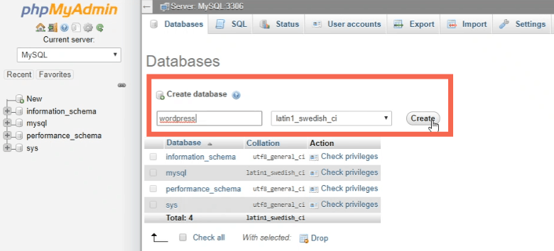create a database foe WordPress