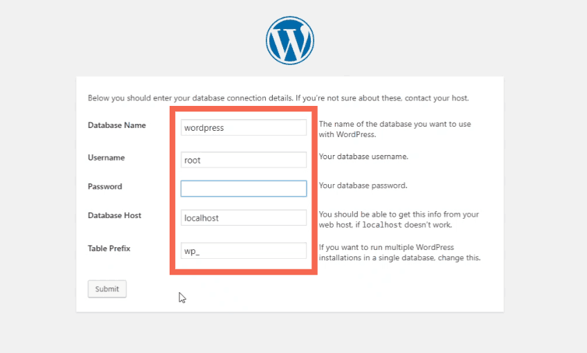 connecting database to WordPress
