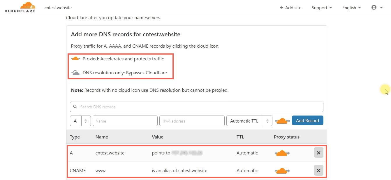 Proxy Status icon - Cloudflare DNS