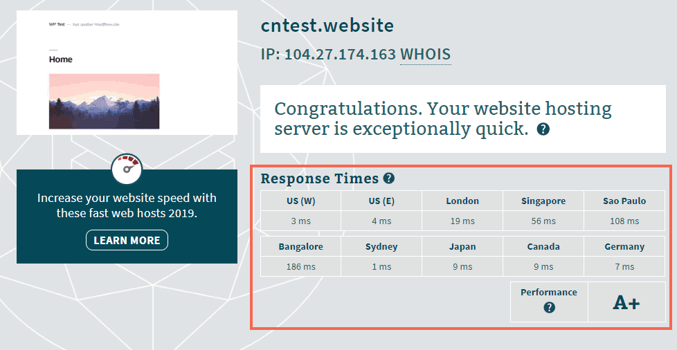Cloudflare speed test - before