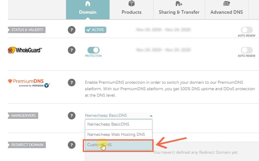 NameCheap - set custom nameservers