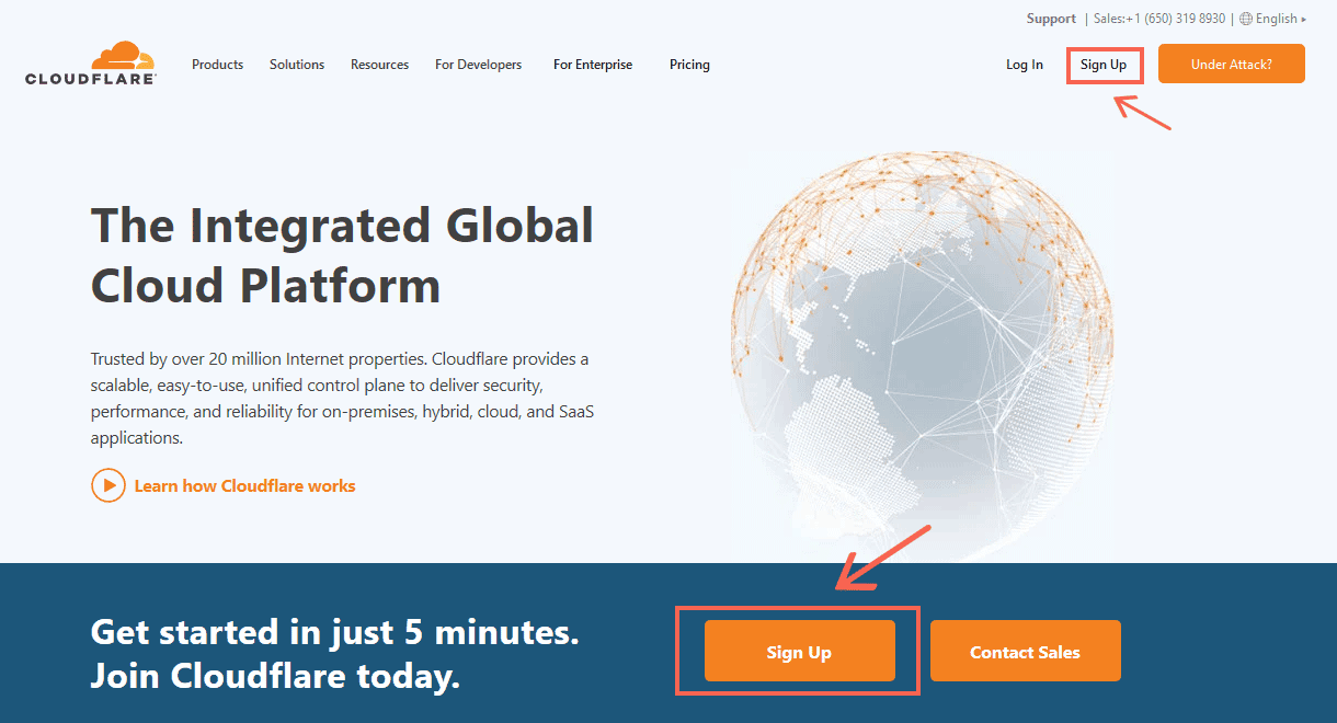 sign-up - Cloudflare on WordPress