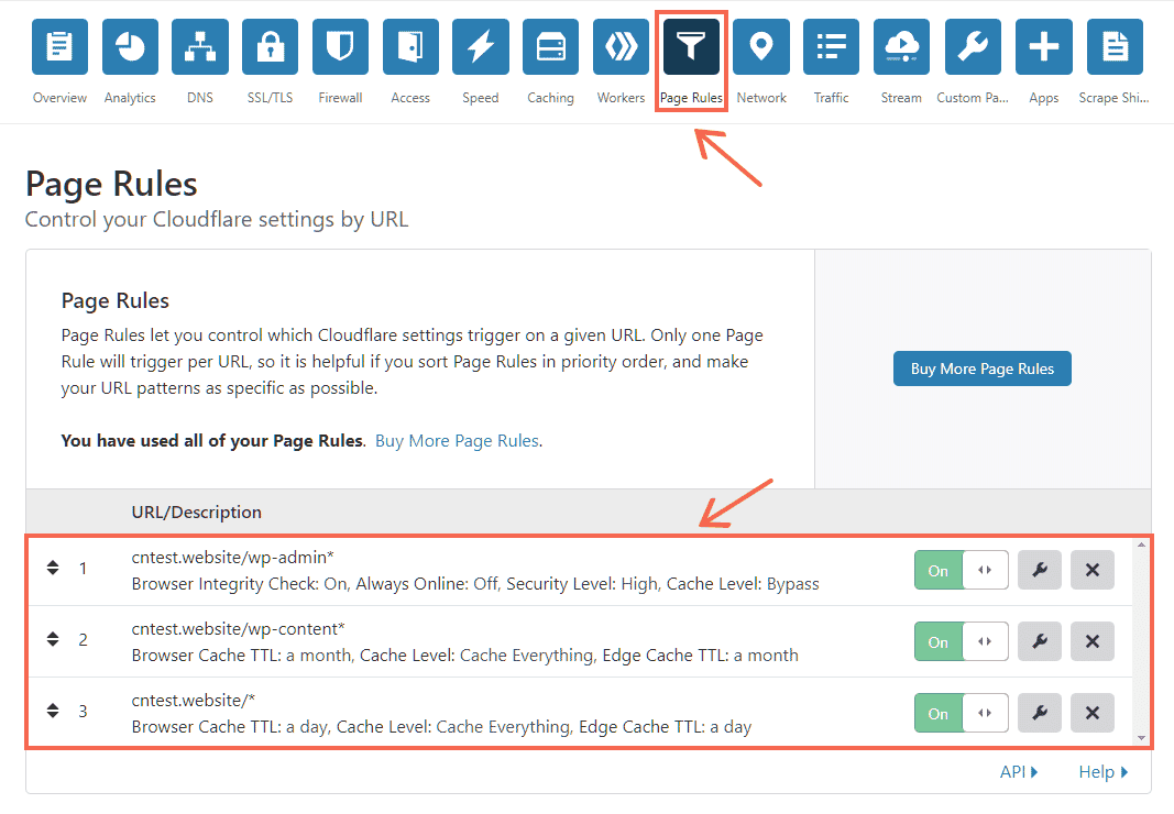 Cloudflare page rules for WordPress
