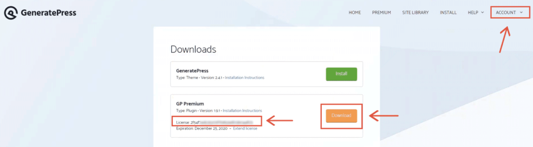 download GP Premium plugin from your account