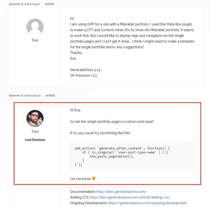Theme author answering on support forum