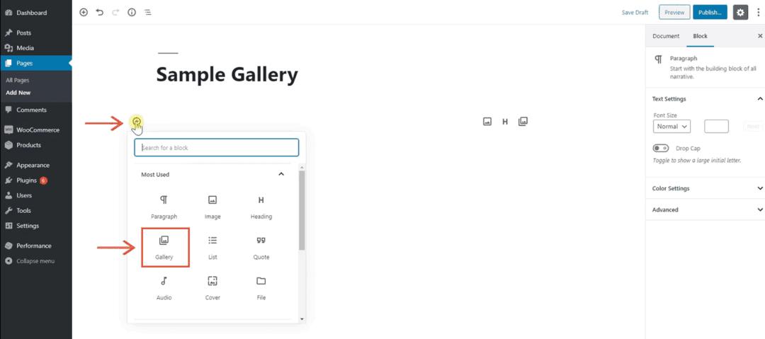 add gallery block in wordpress editor
