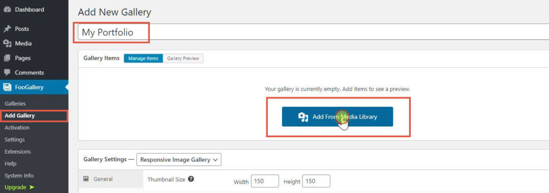 creating a new gallery in foogallery