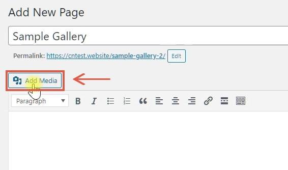 create image gallery in wordpress classic editor