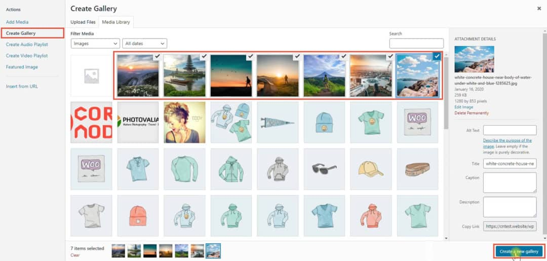 wordpress create gallery - select images
