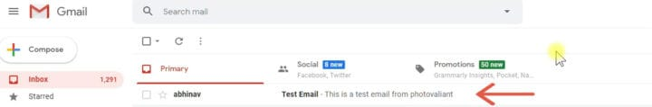 testing cpanel email
