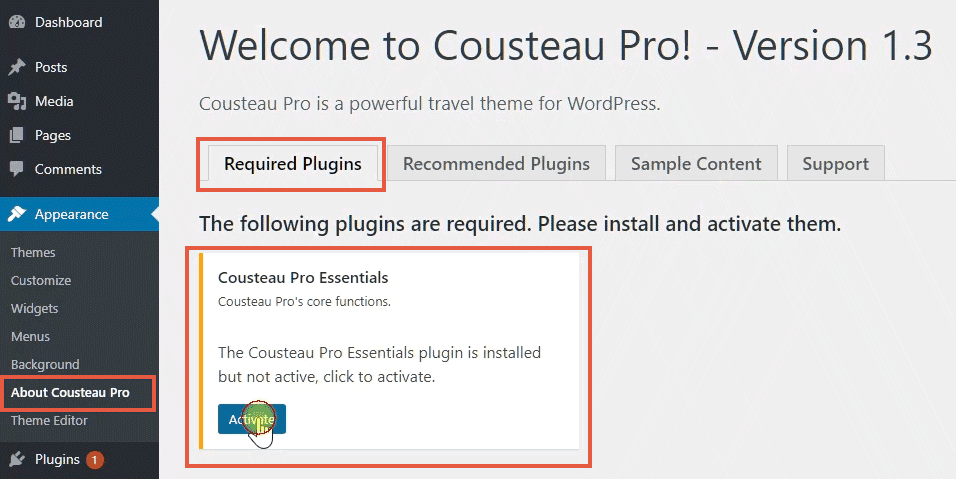intalling required plugins - cousteau pro from cssigniter