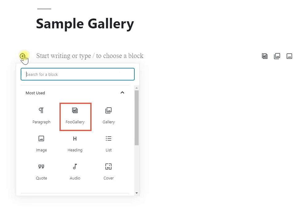 adding foogallery block to wordpress editor