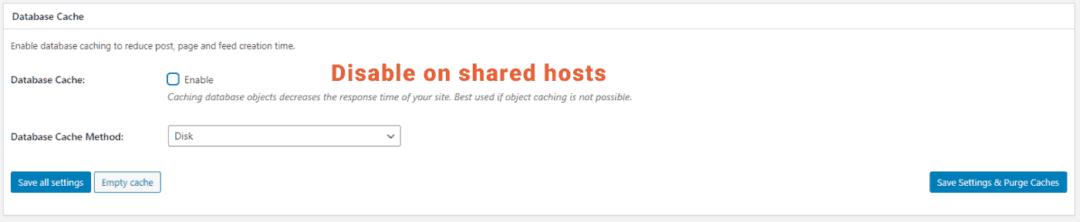 w3tc database cache