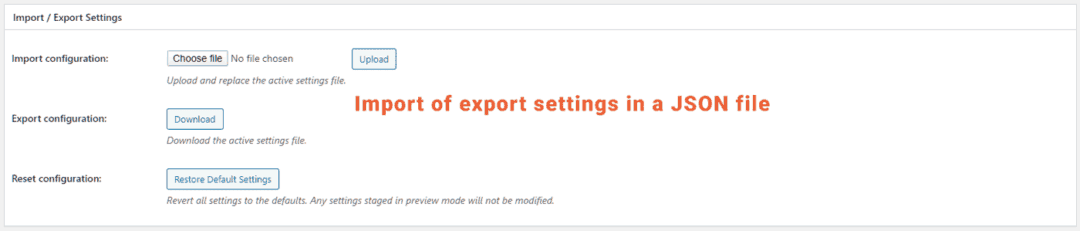 import or export w3 total cache settings