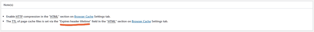 ttl for page cache set under browser cache