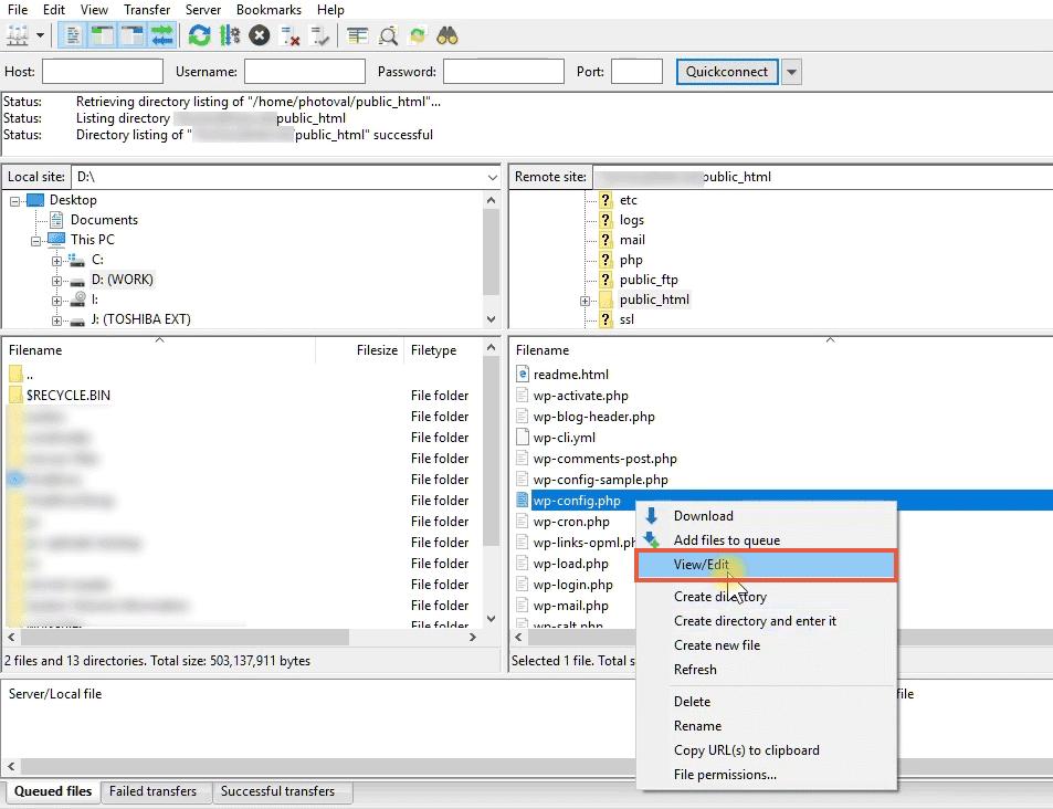opening wp-config file using filezilla