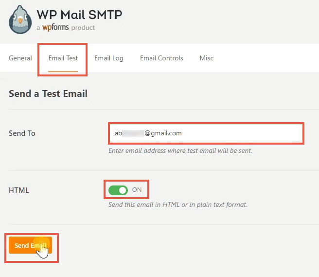 testing email with wp mail smtp plugin