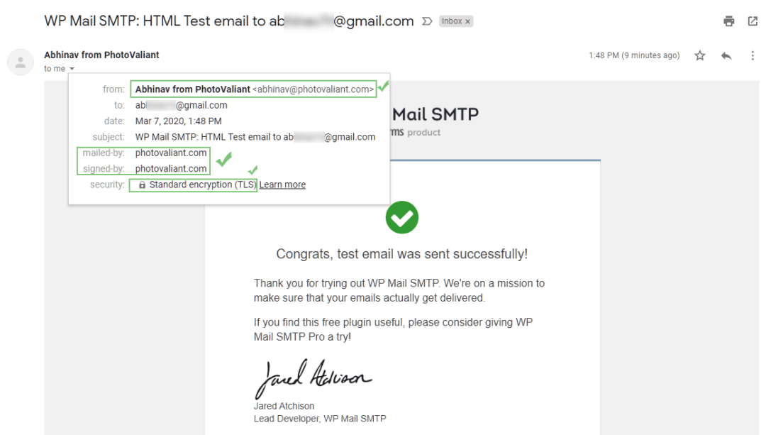test email has correct headers