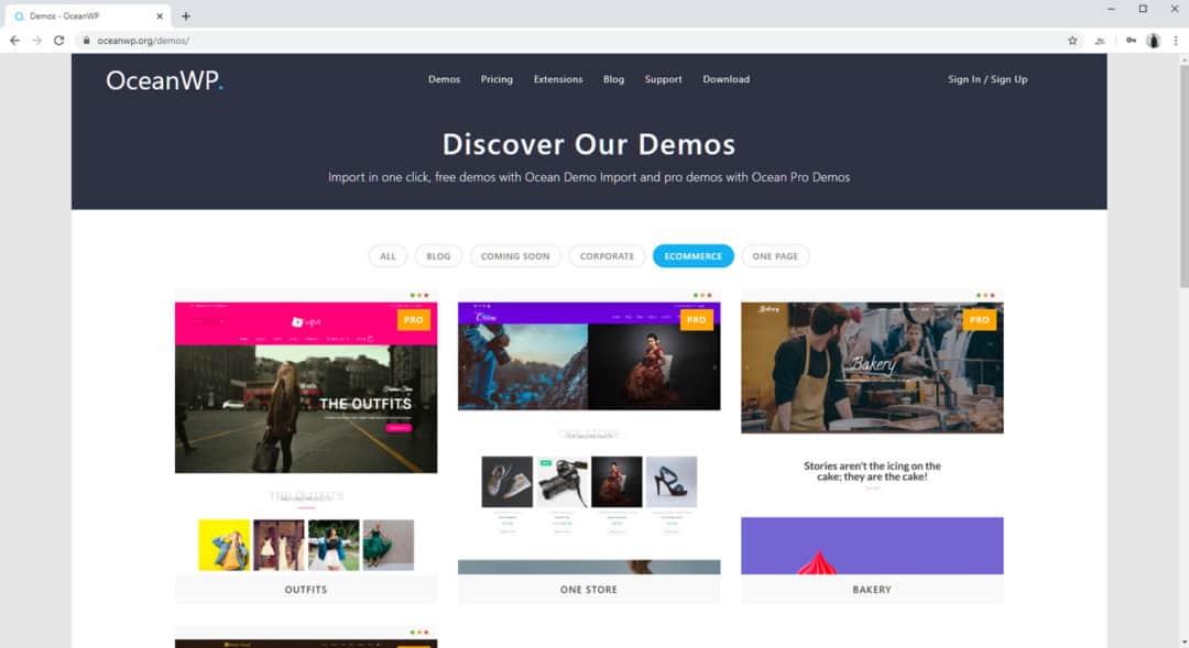 OceanWP eCommerce Demos