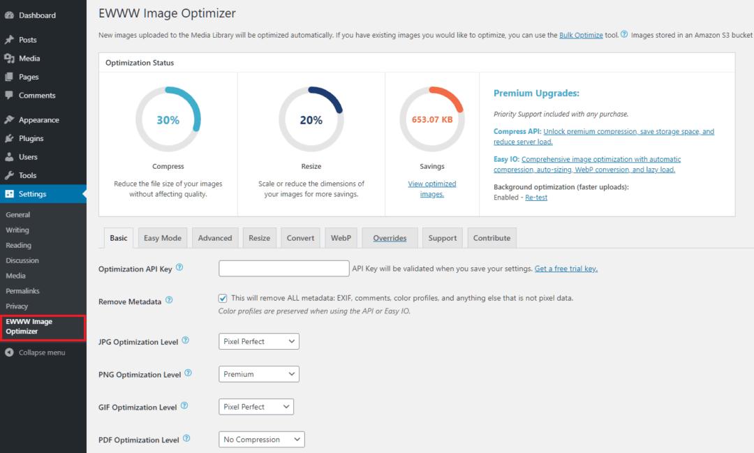 Ewww Image Optimization Plugin - admin page