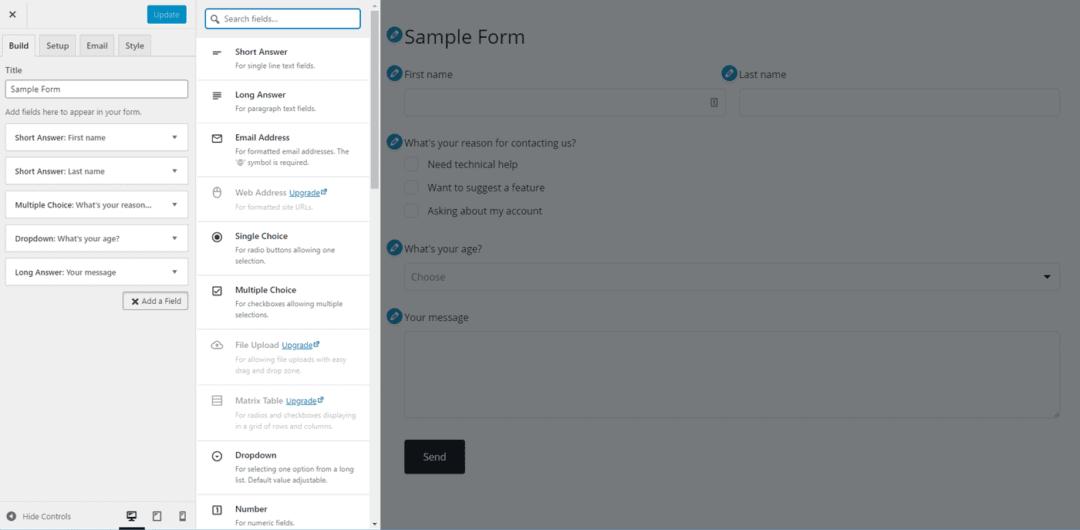 happyforms interface - free version - best wordpress form builder plugins