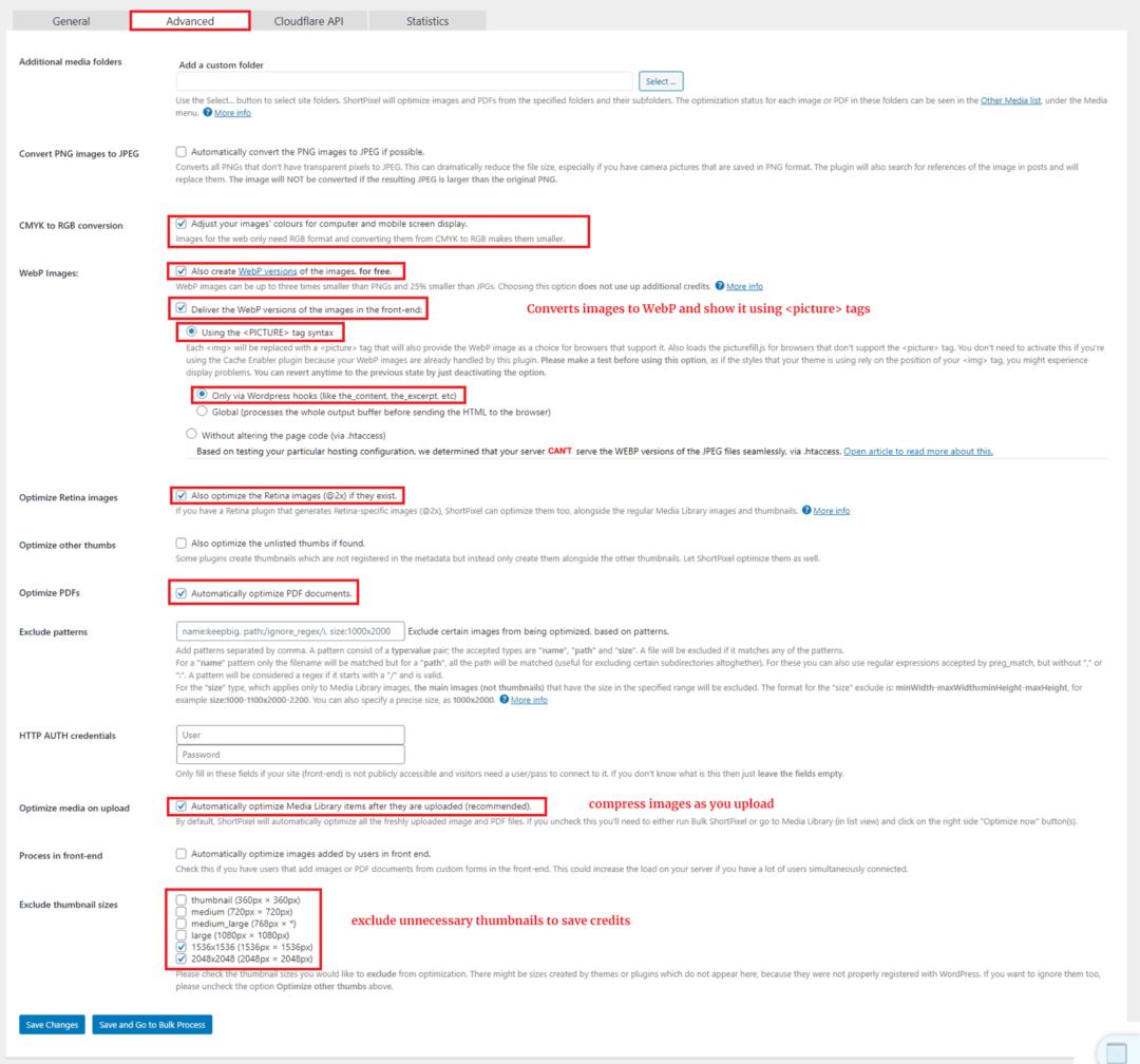 ShortPixel advanced settings